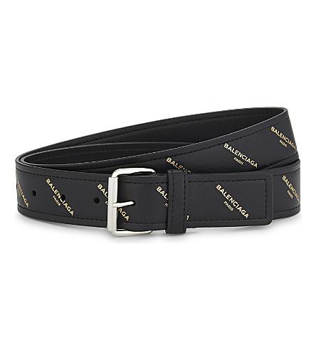 BALENCIAGA Logo leather belt (Black+gold