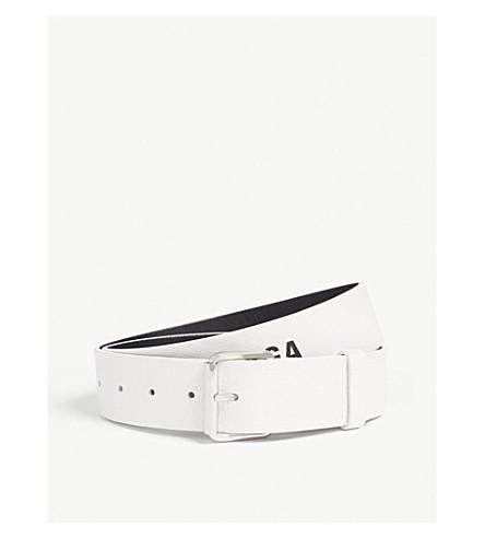 BALENCIAGA Baltimore logo leather belt (White+black