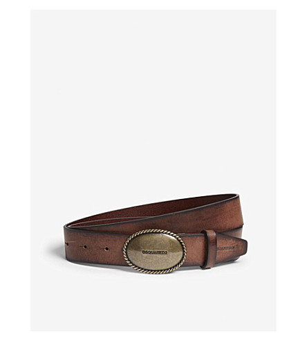 DSQUARED2 Oval buckle burnished leather belt (Silver+brown
