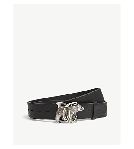 Dsquared2 Buckle Acc Belt AnteriorSiguiente Leather negro paladio Bear wFaqxwp