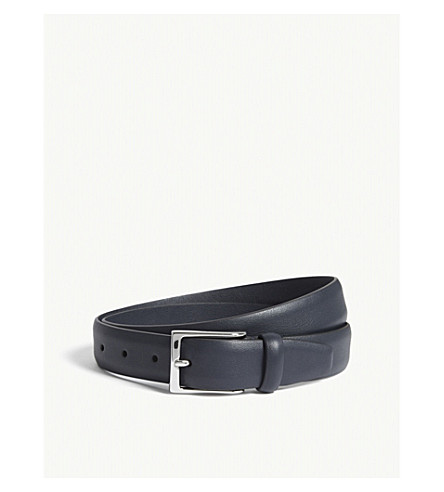 ANDERSONS Smooth leather belt (Navy