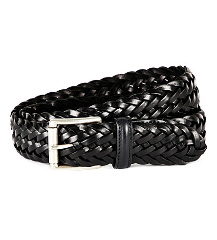 ANDERSONS Woven leather belt (Black