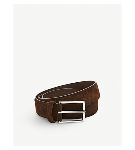 ANDERSONS Classic suede belt (Brown