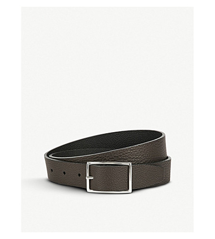 ANDERSONS Reverse leather belt (Tan+black