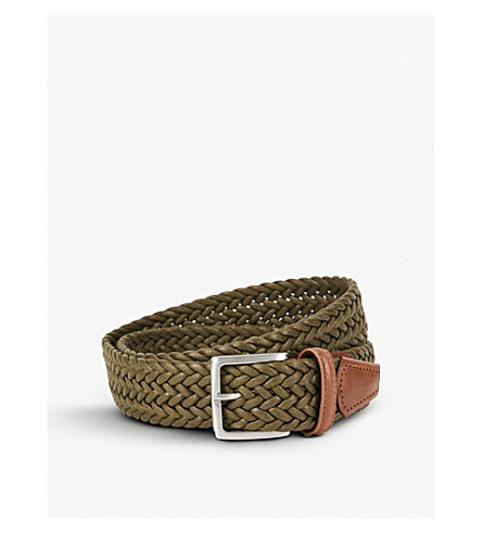 ANDERSONS Woven waxed belt (Olive