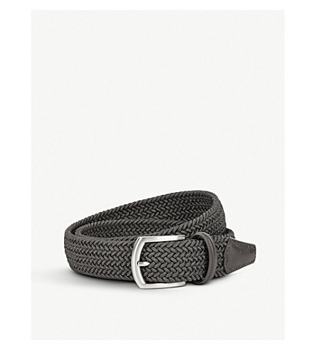 ANDERSONS Woven stretch belt (Grey