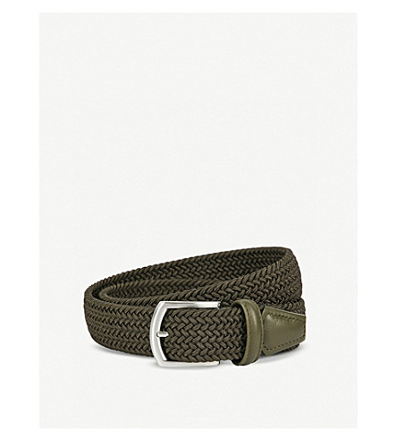 ANDERSONS Woven stretch belt (Olive