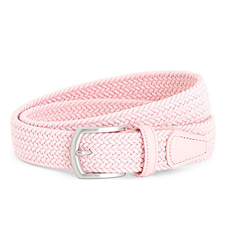 ANDERSONS Elasticated woven belt (Pale+pink