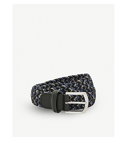 ANDERSONS Woven stretch belt (Navy+blue+steel