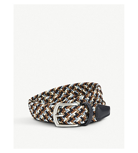 ANDERSONS Woven stretch belt (Khaki+blue+white