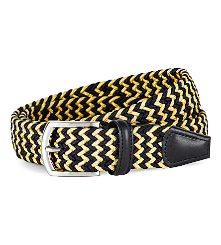 ANDERSONS Leather-trimmed woven belt (Yellow+navy