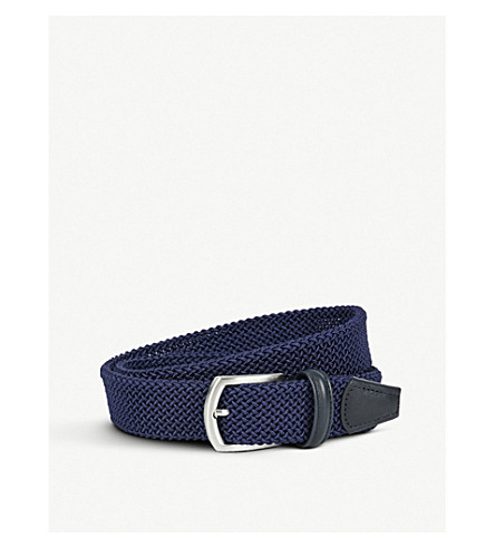ANDERSONS Leather-trim woven belt (Blue