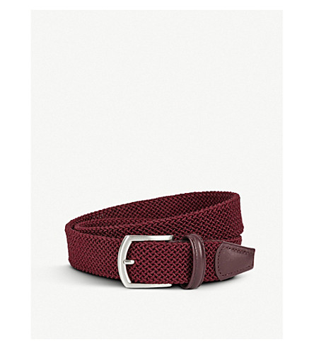 ANDERSONS Leather-trim woven belt (Burgundy