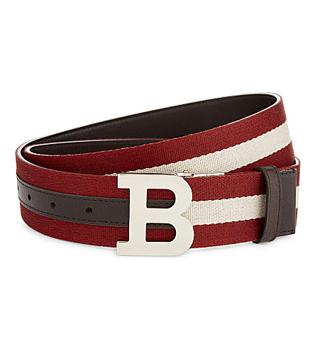 BALLY B Buckle leather and canvas reversible belt (Red+bally/beige