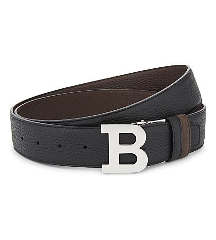 BALLY B-buckle grained leather reversible belt (Black