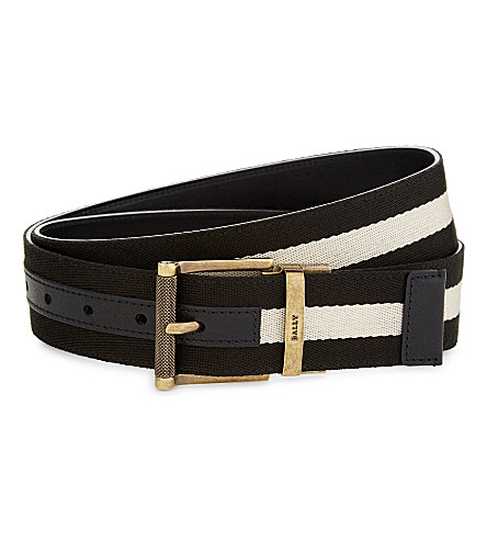 BALLY Tamal leather and canvas reversible belt (Black/beige