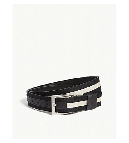 BALLY Tonni stripe canvas and leather belt (Silver+black