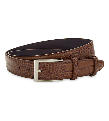 ELLIOT RHODES Mock crocodile leather belt (Chestnut