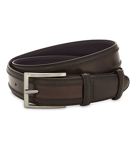 ELLIOT RHODES Wingtip cordovan leather belt (Dark+brown