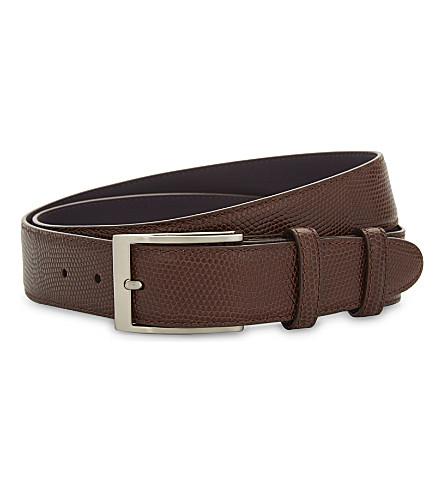 ELLIOT RHODES Mock lizard leather belt (Brown