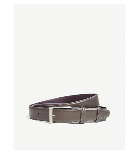 ELLIOT RHODES Classic leather belt (Grey