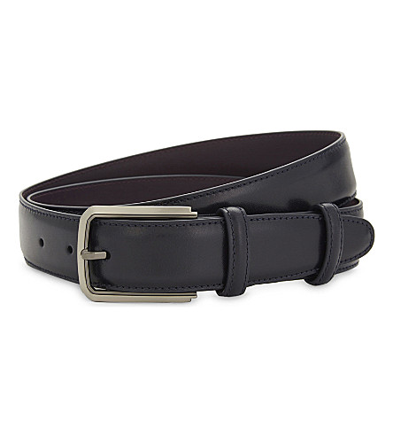 ELLIOT RHODES Classic leather belt (Navy
