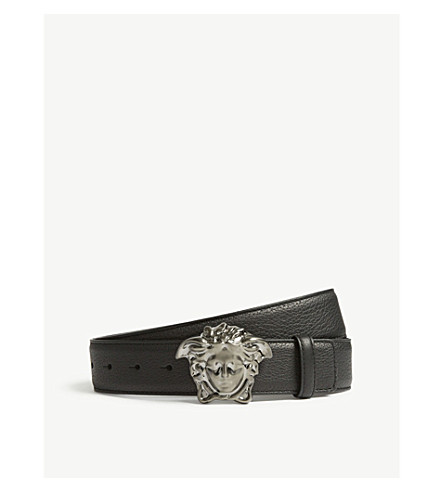 VERSACE Medusa buckle leather belt (Black+ruthenium