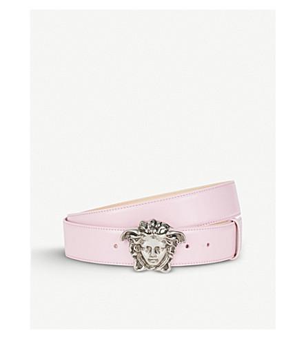 VERSACE Medusa head leather belt (Pink+silver