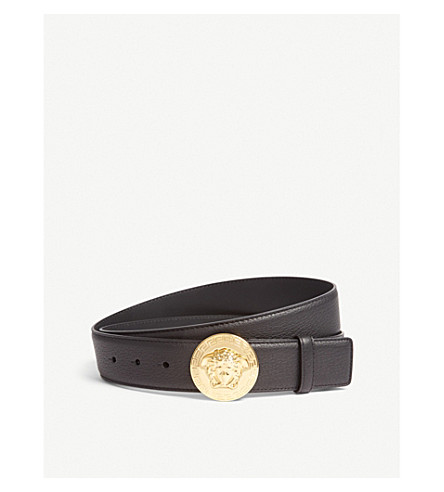 VERSACE Medusa round buckle leather belt (Black+gold
