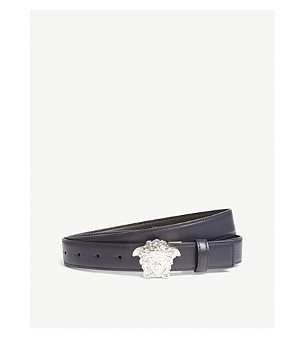 VERSACE Palazzo Medusa slim leather belt (Black+navy