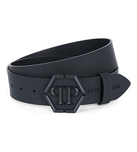 PHILIPP PLEIN Shake logo leather belt (Black