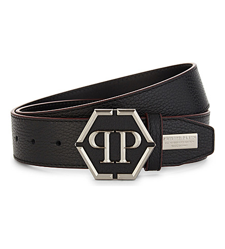 PHILIPP PLEIN Logo leather belt (Black/nickel