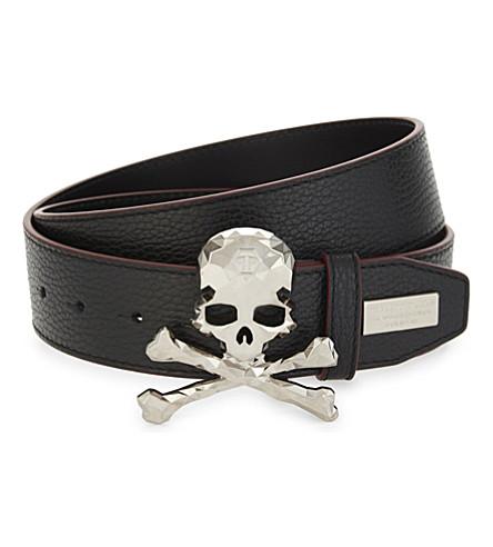 PHILIPP PLEIN Skull leather belt (Black/nickel