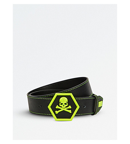 PHILIPP PLEIN Soleil skull-detail leather belt (Black+yellow