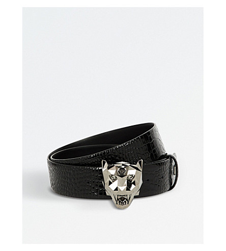 PHILIPP PLEIN Banyan puma-detail reptile-print leather belt (Black+silver