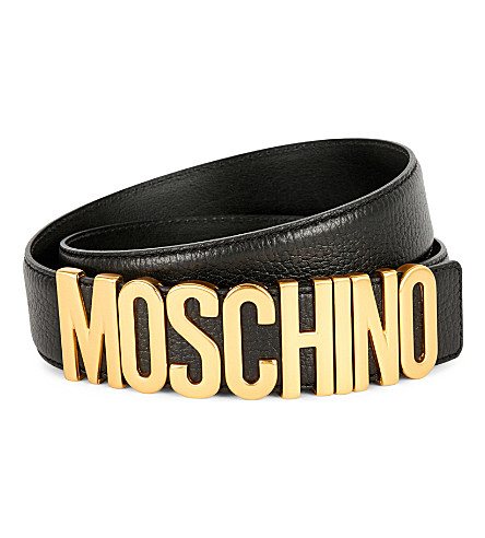 MOSCHINO Leather logo belt (Blk+gold
