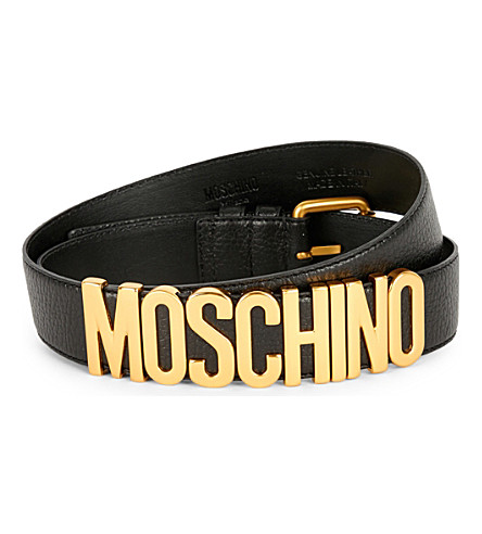 MOSCHINO Leather buckle logo belt (Blk+gold