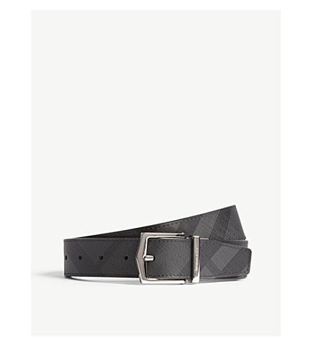 BURBERRY House check leather belt (Charcoal