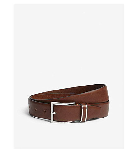 BOSS Leather metal-trimmed belt (Medium+brown