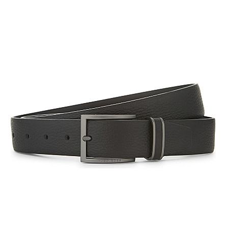 BOSS Sopprin grained leather belt (Black