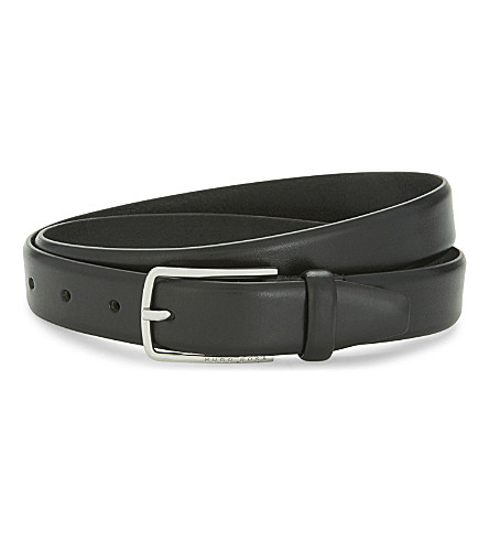 BOSS Chuck slim leather belt (Black