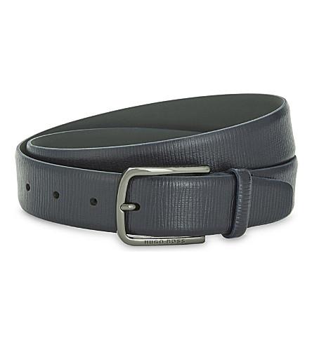 BOSS Seraf cross-grain leather belt (Dark+blue