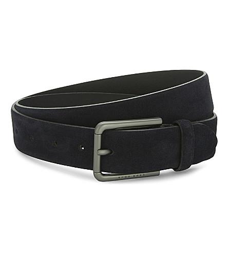 BOSS Brushed suede belt (Dark+blue
