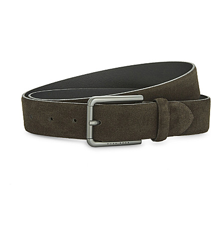 BOSS Brushed suede belt (Dark+brown