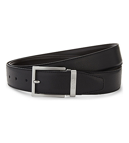 BOSS Grained leather belt (Black
