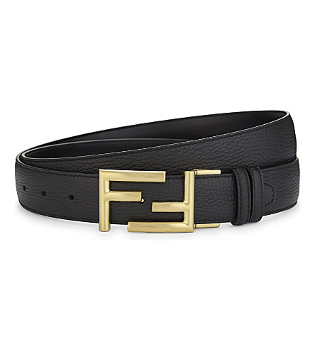 FENDI Reversible leather belt (Black+brown+brass