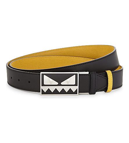 FENDI Reversible monster leather belt (Blk+yell