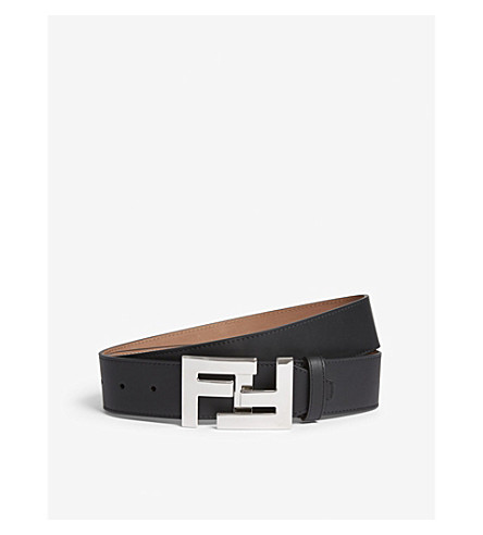 FENDI FF logo leather belt (Silver