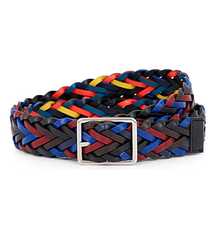 PAUL SMITH ACCESSORIES Reversible plaited leather belt (Black