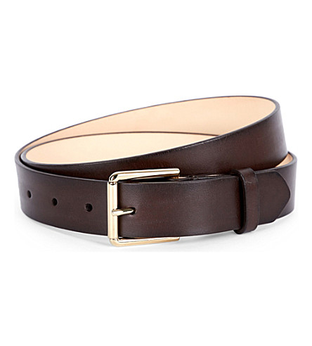 PAUL SMITH ACCESSORIES Burnished leather belt (Chocolate